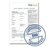 ISO-Kalibrierzertifikat für PCE Beleuchtungsmessgeräte