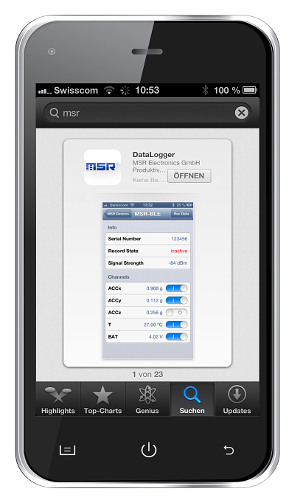 Die MSR145WD-App verbindet den Datenlogger via Bluetooth Low Energy mit dem Smartphone